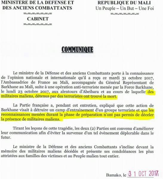 Mali – Mort des Otages militaires maliens  retenus par JNIM. Communiqué du Ministère de la Défense et des AnciensCombattants