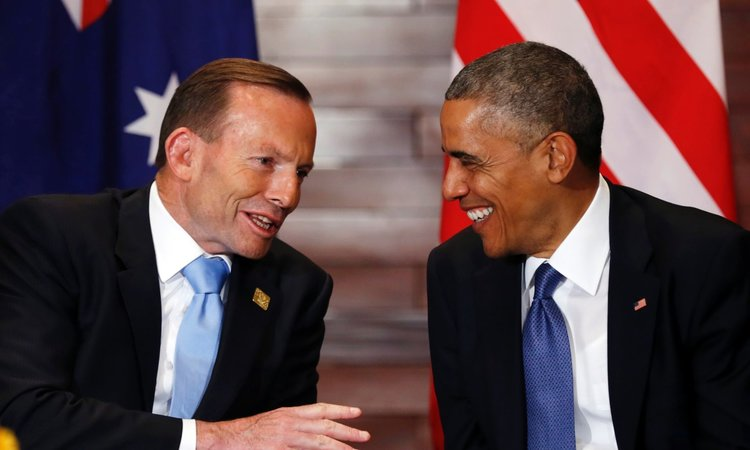 Former Australian Prime Minister Tony Abbott and former President Barack Obama in 2014 (Kevin Lamarque/Reuters)