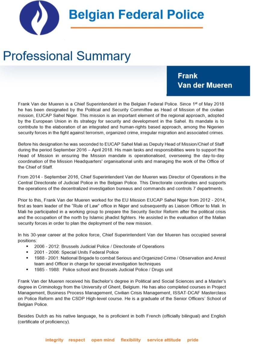 Frank Van der Mueren CV