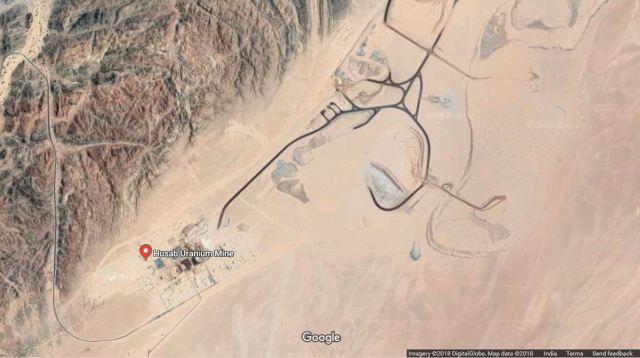 Map Attribute: Husab Uranium Mine / Source: (c) 2018 DigitalGlobe via Google Earth / Note: The map is not the part of the original publication.