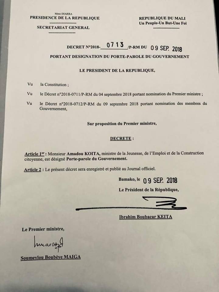 Mali – Désignation du nouveau porte-parole duGouvernement