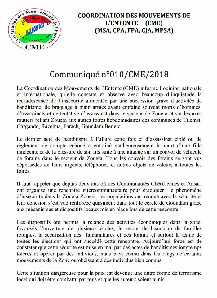 Mali/CME – Communiqué de la Coordination des Mouvements de l'Ententes (CME) sur la recrudescence de l'insécurité