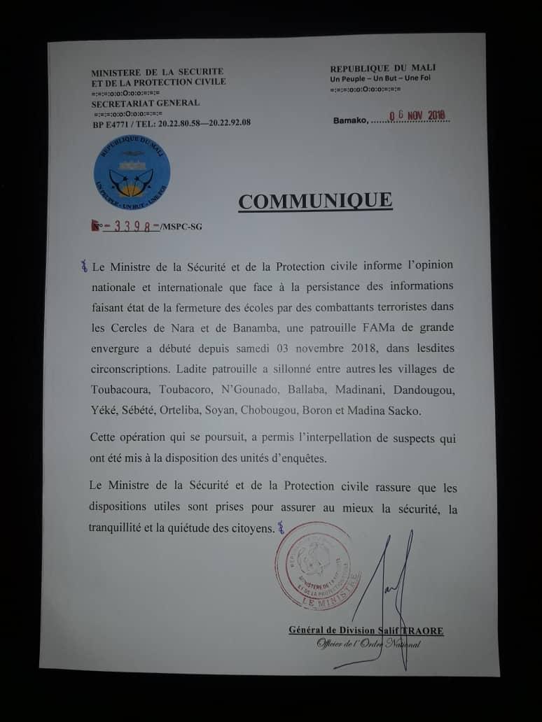 Mali – Communiqué du ministre de la Sécurité et de la ProtectionCivile
