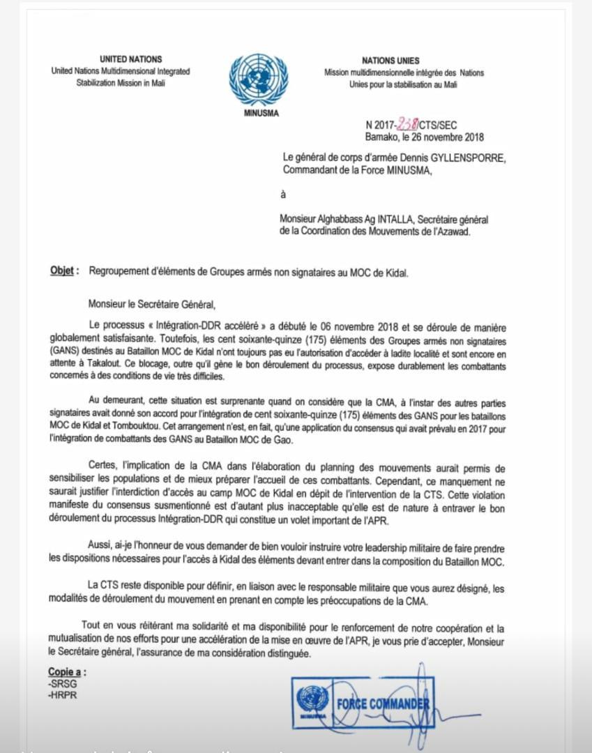 Mali – Communiqué du Comité Directeur de la Coordination des Mouvements de l'Azawad (CMA)#MINUSMA