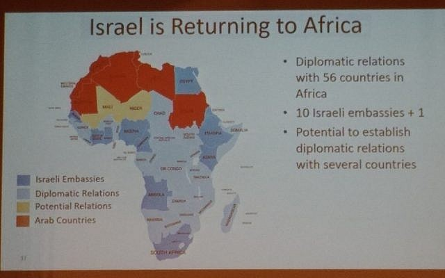 Israel/Mali/Niger – Map shown by PM shows Israel having 'potential' relations with Mali, Niger